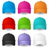 Conjunto de gorras de béisbol — Vector de stock