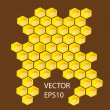 Stock Photo: Vector honey combs