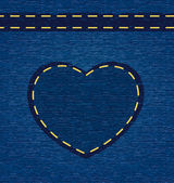 Vector valentine heart on jeans background — Stock Photo