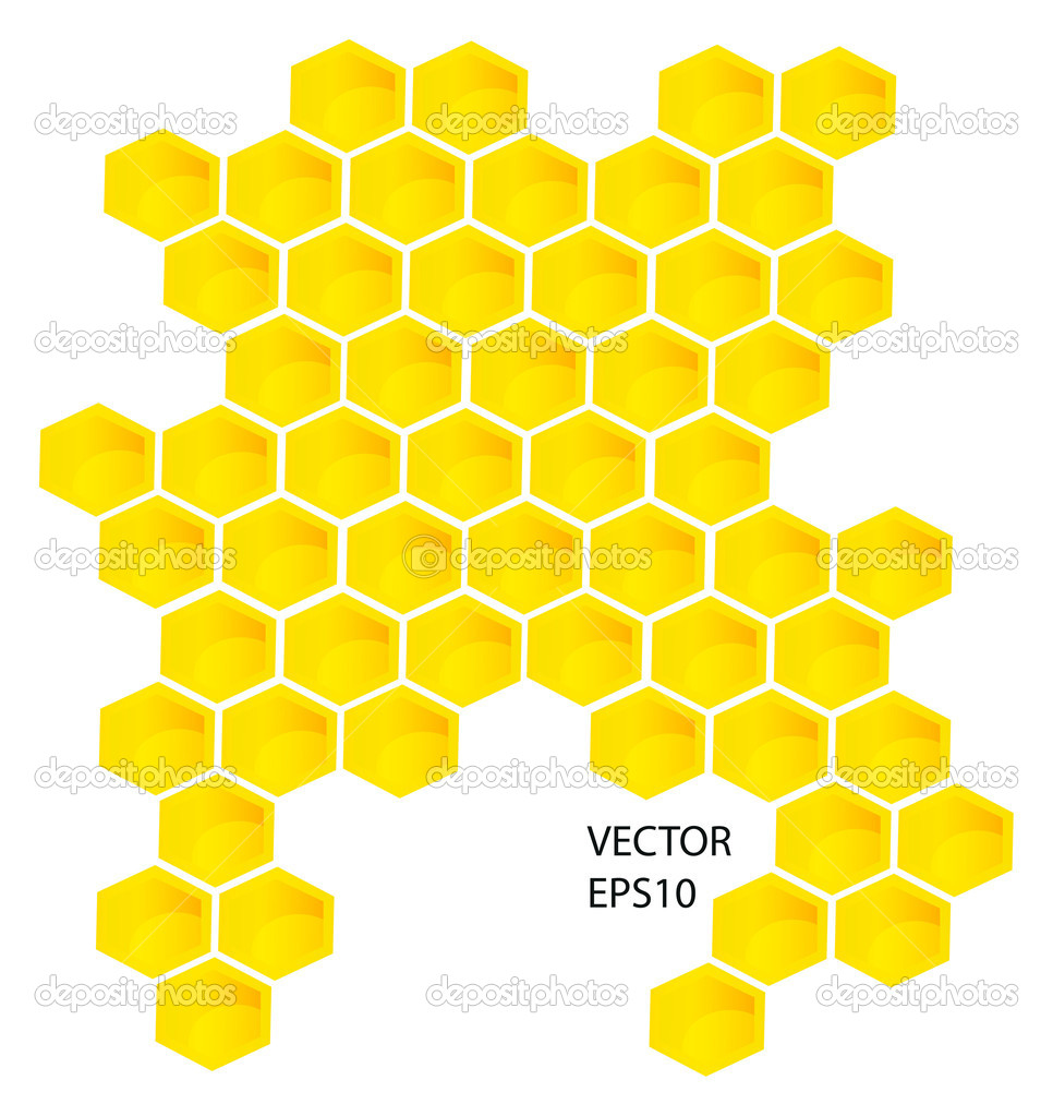 Vector honey combs background design elements isolated over white background — Stock Photo #8111322
