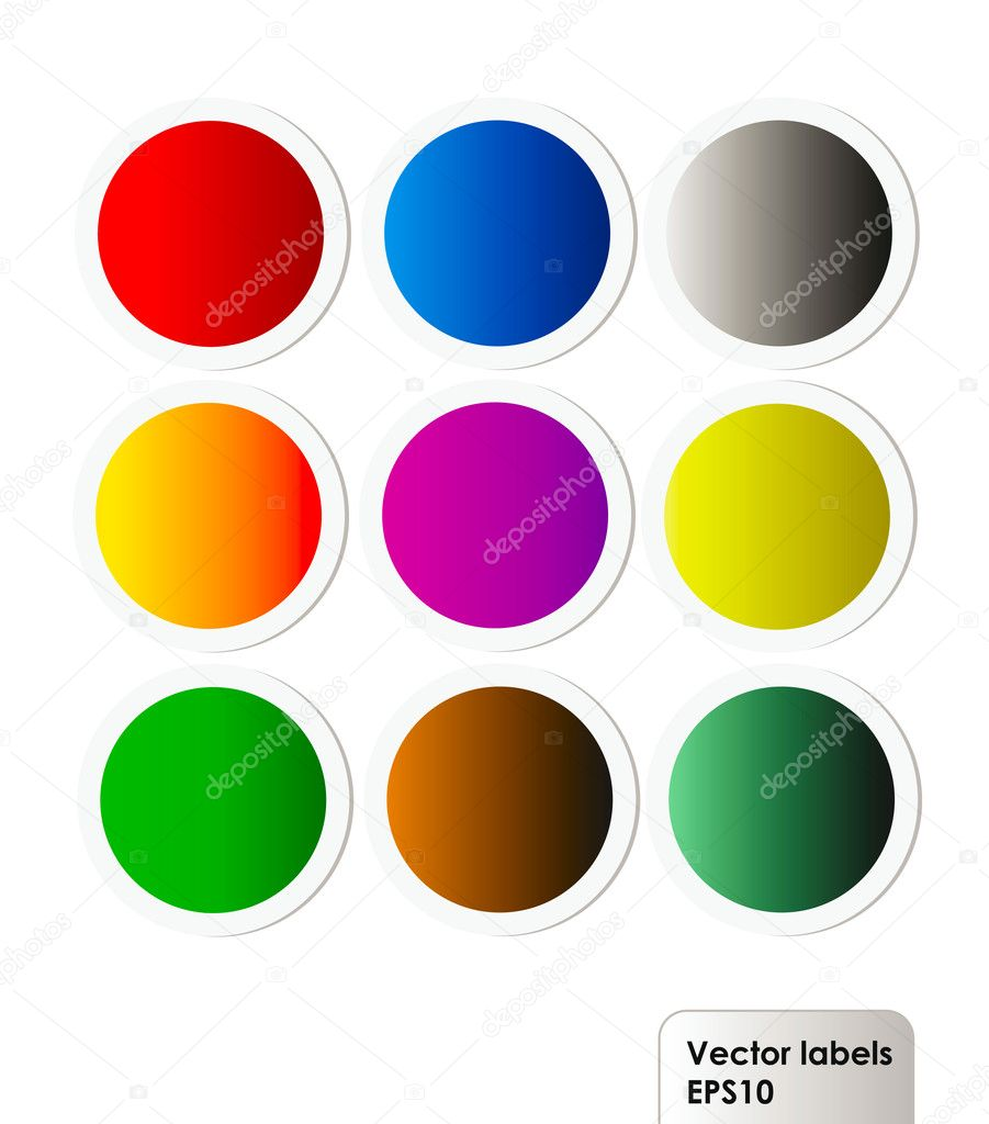 Vector set of colorful labels isolation over white background  Stock Photo #8131945
