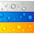 Set of colorful banners with water drops — Stock Photo