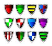 Jeu de boucliers colorés vectorielles — Photo