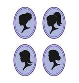 Women silhouettes — Stock Vector