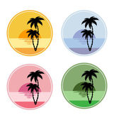 Icon with sun and palm trees — Stock Vector