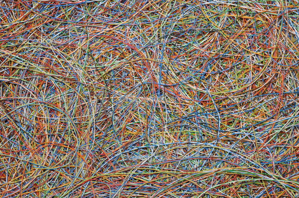Tangle of colored wires, a global Internet network — Stock Photo #9173148