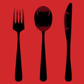 Knife, fork and spoon — Stock Vector