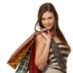 menina com sacos — Foto Stock
