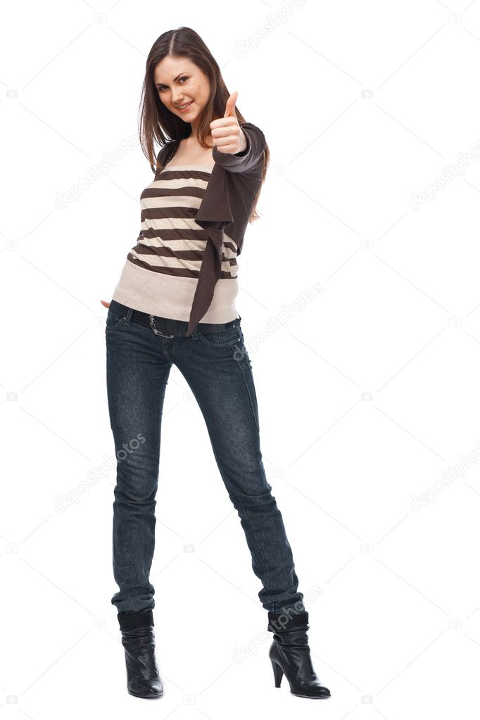 Smiling woman with a thumbs up sign isolated over white — Stock Photo #9046894