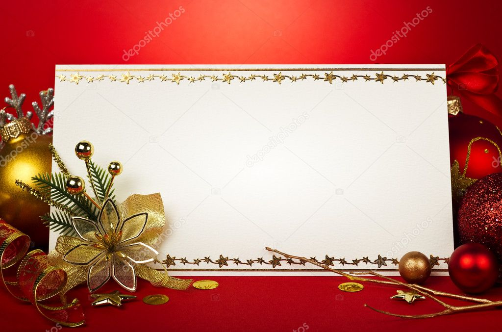 Christmas card with space christmas decoration — Stock Photo #8027855