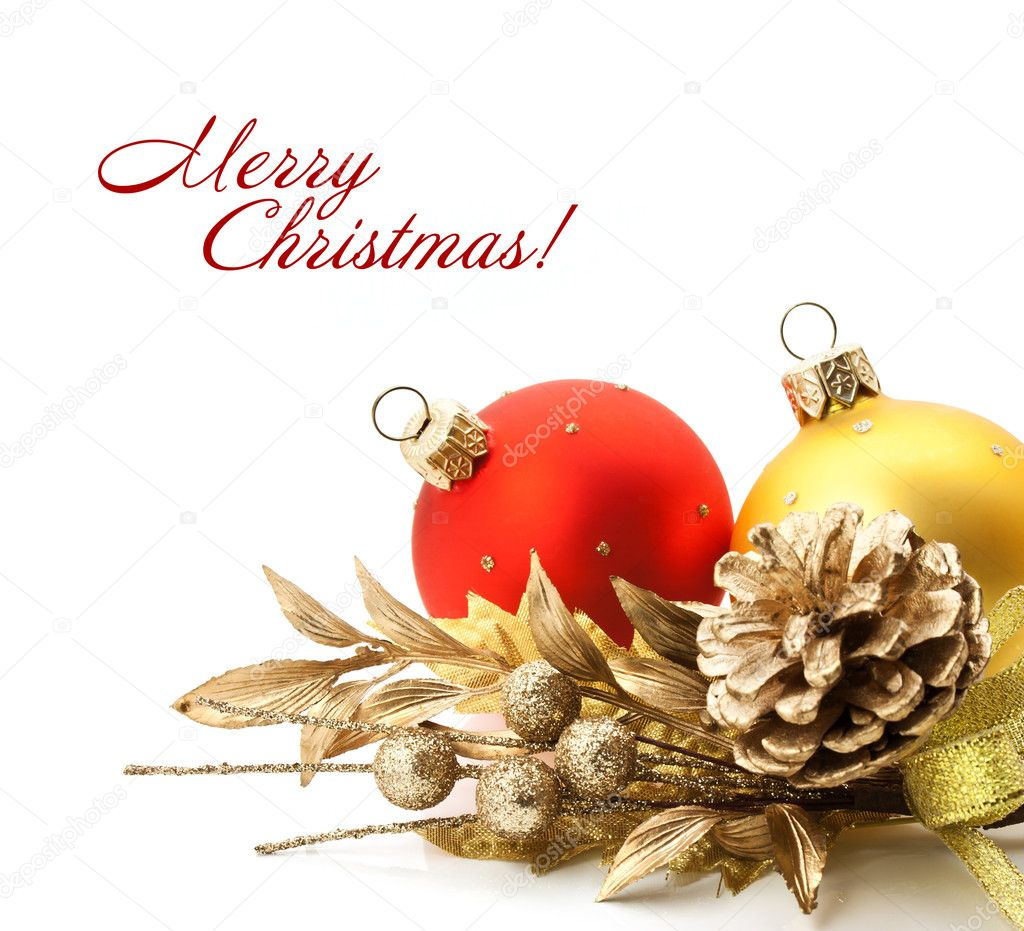 Bright christmas composition with balls and sample text  Stock Photo #8034595