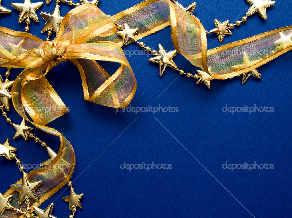 Greeting cards and gold stars on blue paper. Natural Textures  Stock Photo #8035064