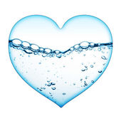 Heart from water wave — 图库照片