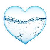 Serce z fala wody — Zdjęcie stockowe