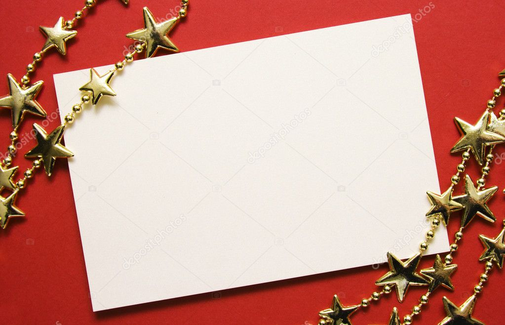 Greeting cards and gold stars on red paper. Natural Textures — Stock Photo #8137911