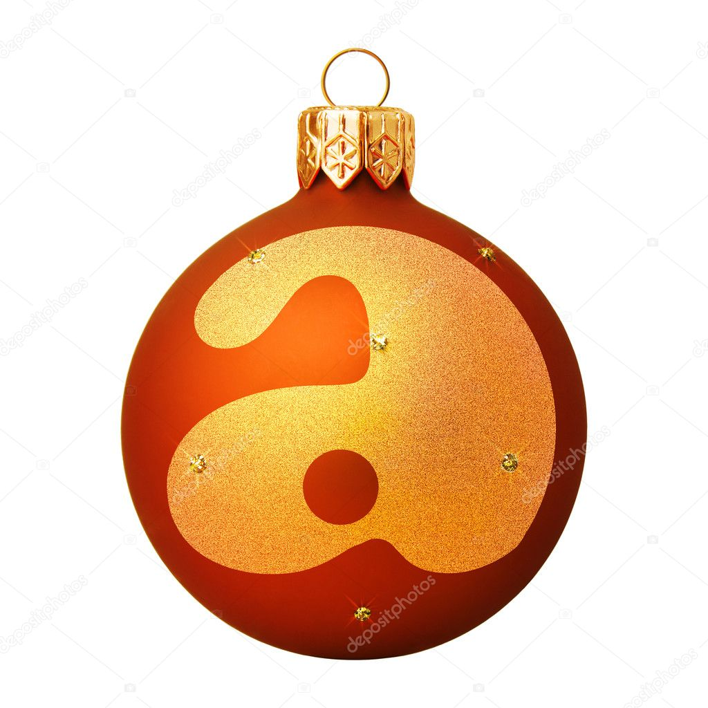 Red Christmas ball with a letter — Stock Photo #8138092