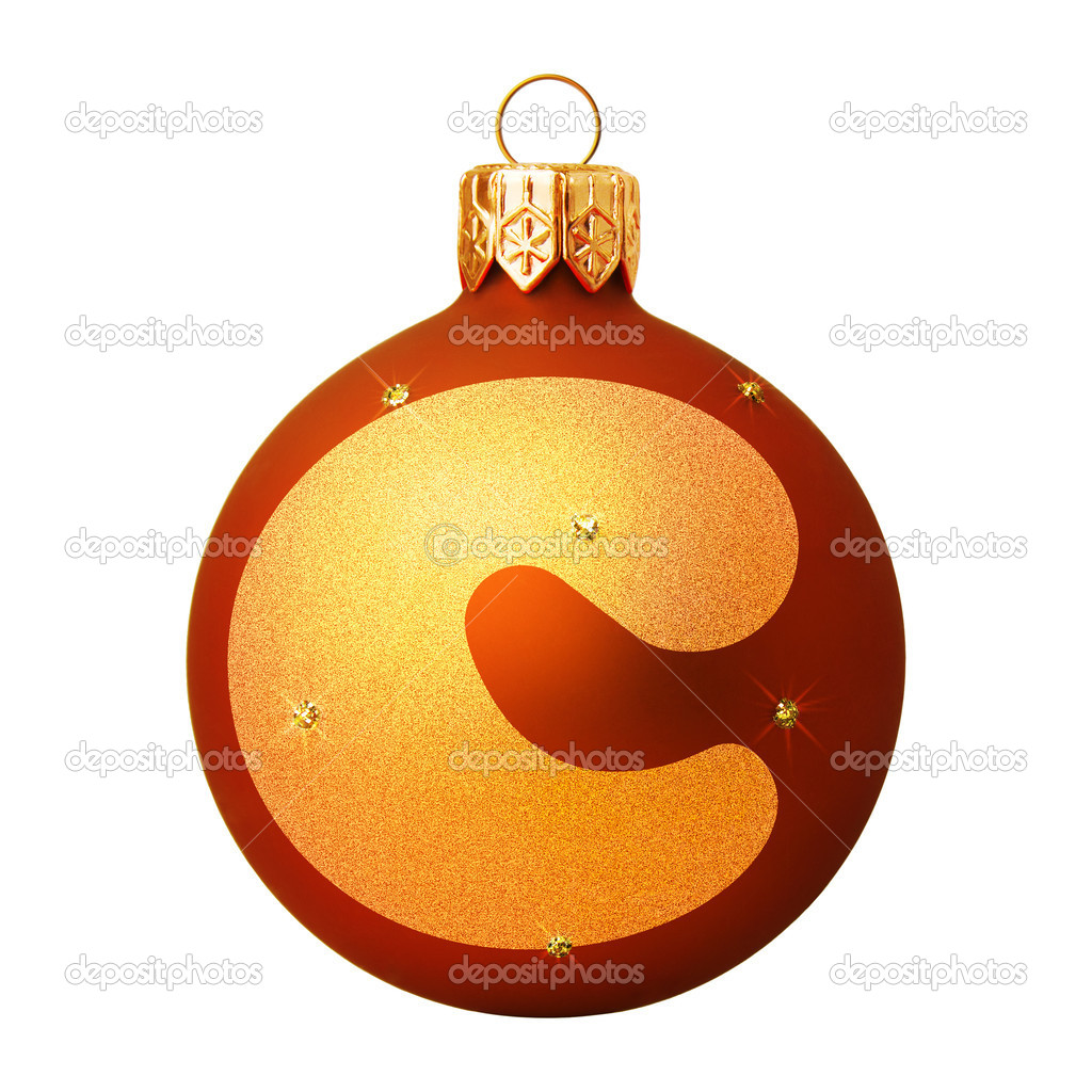 Red Christmas ball with a letter — Stock Photo #8138123