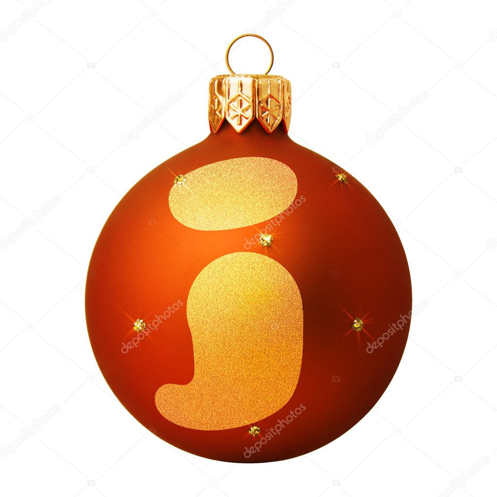 Red Christmas ball with a letter — Stock Photo #8138140