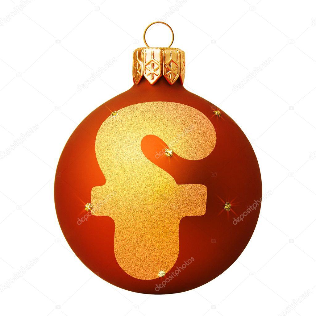 Red Christmas ball with a letter — Stock Photo #8138151