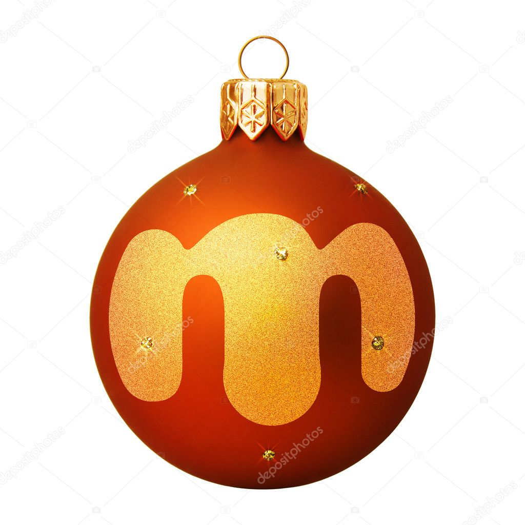 Red Christmas ball with a letter — Stock Photo #8138162