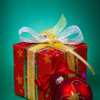 Stock Photo: Gift and baubles