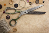 Scissors and buttons — Stock Photo