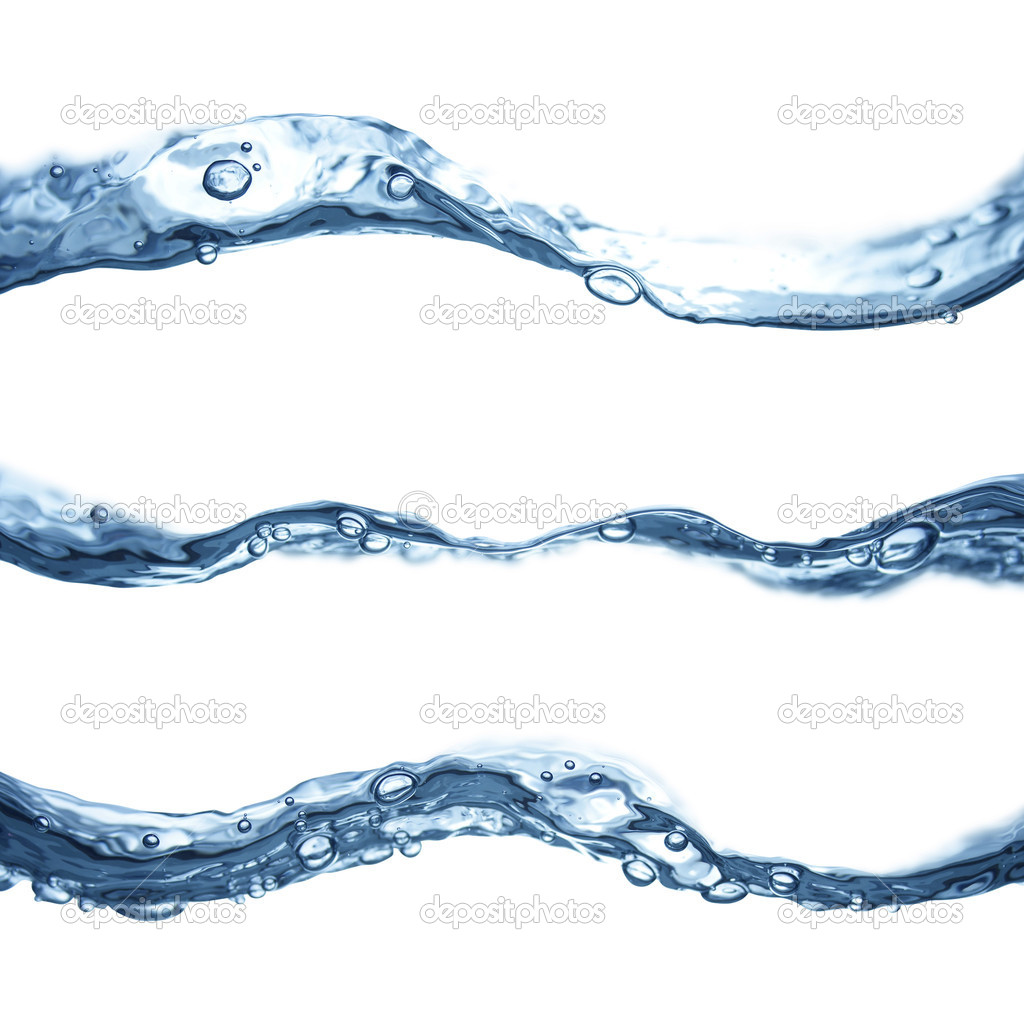 Blue water waves flowing isolated on white background. — Stock Photo #9677990
