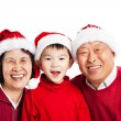Asian grandparents celebrating Christmas - Stock Photo