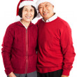 Stock Photo: Senior Asian couple celebrating Christmas