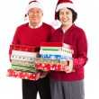 Senior Asian couple celebrating Christmas — Stock Photo