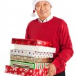 Senior Asian celebrating Christmas — Stock Photo