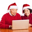 Stock Photo: Senior Asian grandparents using computer