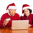Senior Asian couple shopping online celebrating Christmas — Stok fotoğraf