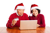 Senior Asian couple shopping online celebrating Christmas — Stock Photo