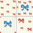 Seamless patterns with bow and stripes — ストックベクタ