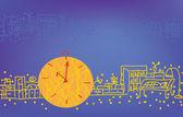 Fondo con reloj — Vector de stock