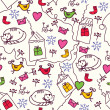 Christmas seamless pattern with cats — Stock Vector