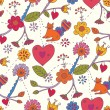 Floral valentine seamless pattern — Stock Vector