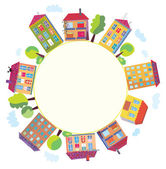 City houses in circle — Stock Vector