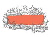 Frame city doodle desig — Stock Vector