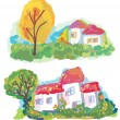 Banners with landscape and houses — Imagen vectorial
