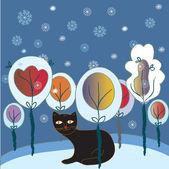 Julkort med katt och skog — Stockvektor