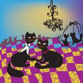 Dancing ball of cats — Stock Vector