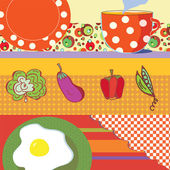 Food banners with eggs, tea, vegetables — Stock Vector