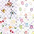 Royalty-Free Stock Vectorielle: Baby seamless patterns with flower, shoes, footprints