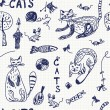 Royalty-Free Stock Vector Image: Seamless background with doodle cats