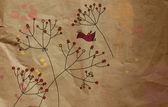 Vintage blumen grusskarte mit vogel — Stockfoto