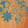 Wood texture with flowers — Stock Photo