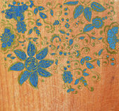 Wood texture with flowers — Stockfoto