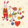 Vintage easter card with rabbit - Stock Vector